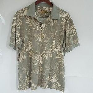 Caribbean short sleeve shirt, M, Olive green/cream